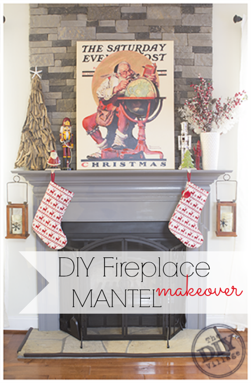DIY stack stone fireplace makeover with Dover Gray Mantel
