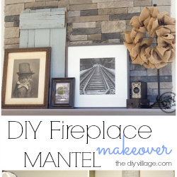DIY stack stone fireplace makeover with Dover Gray Mantel. Great mix of rustic modern decor. Love the antique cameras and photographs