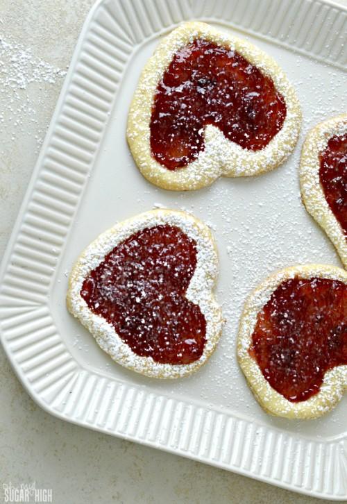 Valentine Cherry Filled Jam Heart Cookies