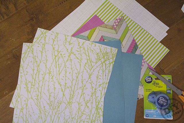 DIY Dollhouse wallpaper using patterned scrapbook papers
