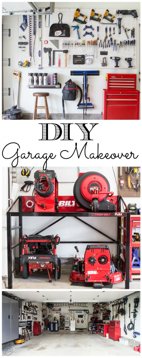 Organized garage makeover the diy village diy garage makeover tons of organization ideas solutioingenieria Image collections