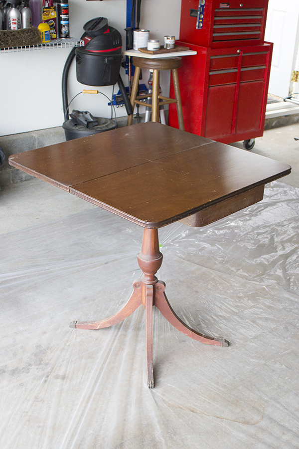 Duncan Phyfe game table makeover, perfect update for any table no longer in condition for refinishing.
