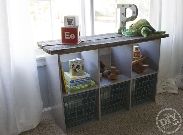 Laminate storage cube makeover with Reclaimed barnwood perfect for a rustic nursery or kids room!