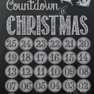 Chalkboard Christmas Countdown - with dozens of other free Holiday Printables