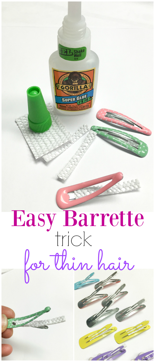 The best way to keep inexpensive barrettes from slipping out of baby fine hair! This is a must for mom's & dad's of toddlers!