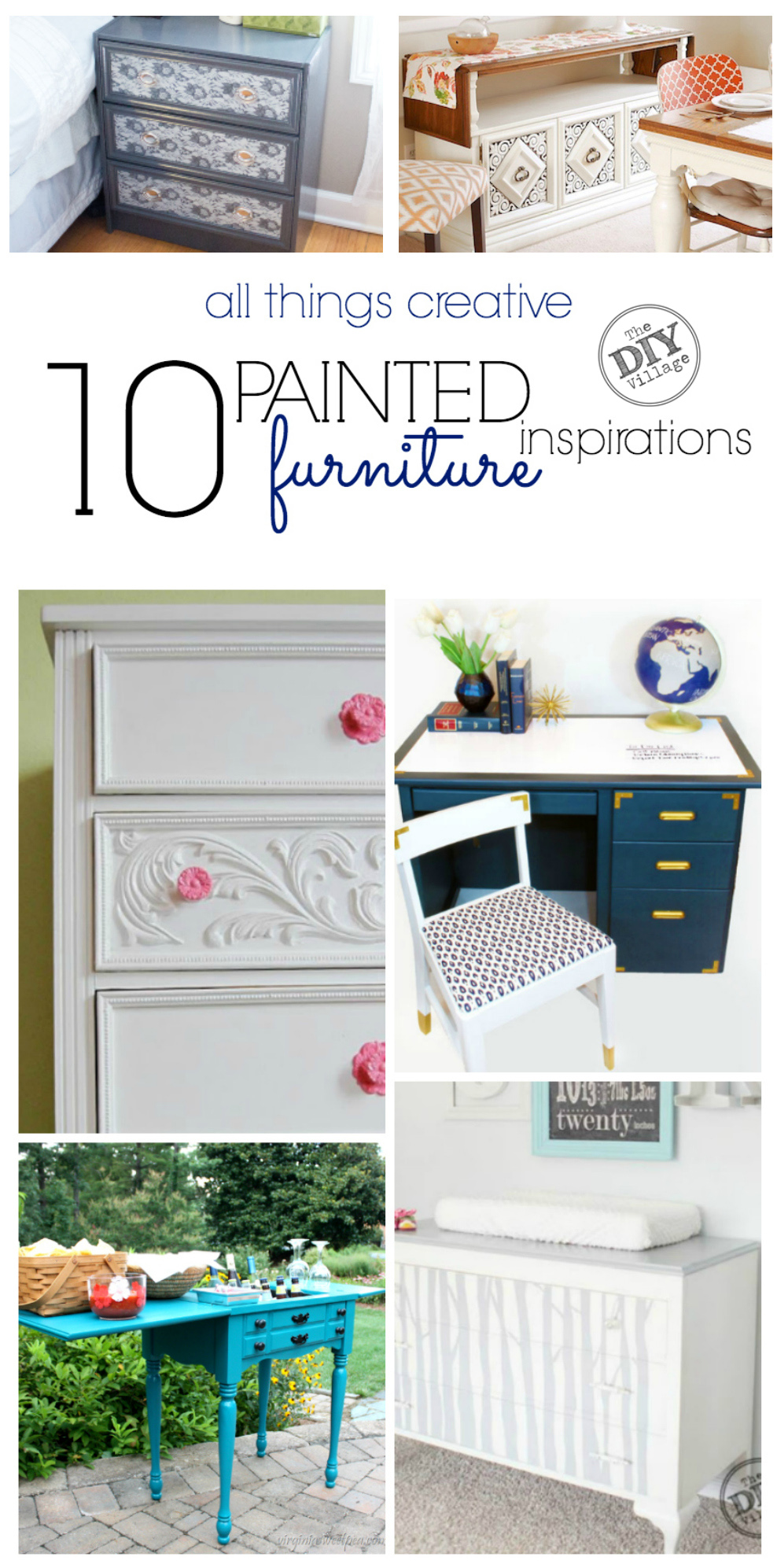 10 awesome painted furniture inspirations, including painting upholstery.