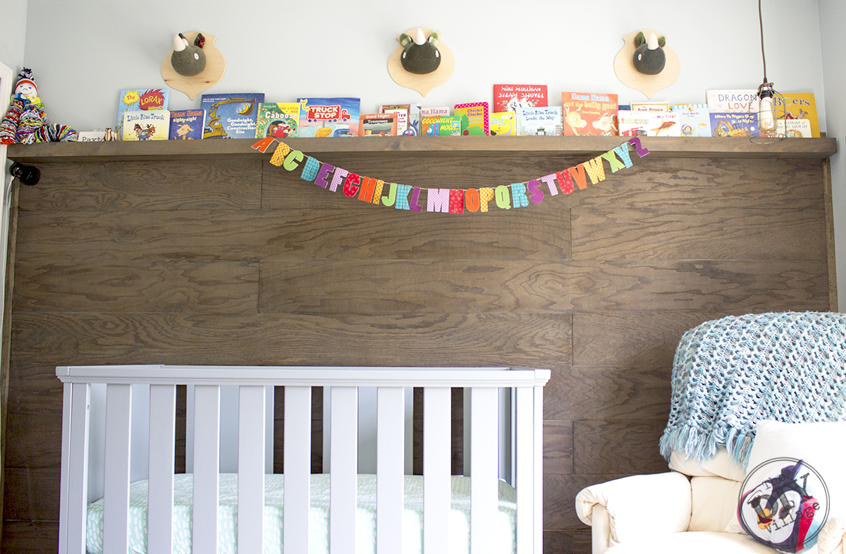 Modern Rustic baby nursery with bright pops of color