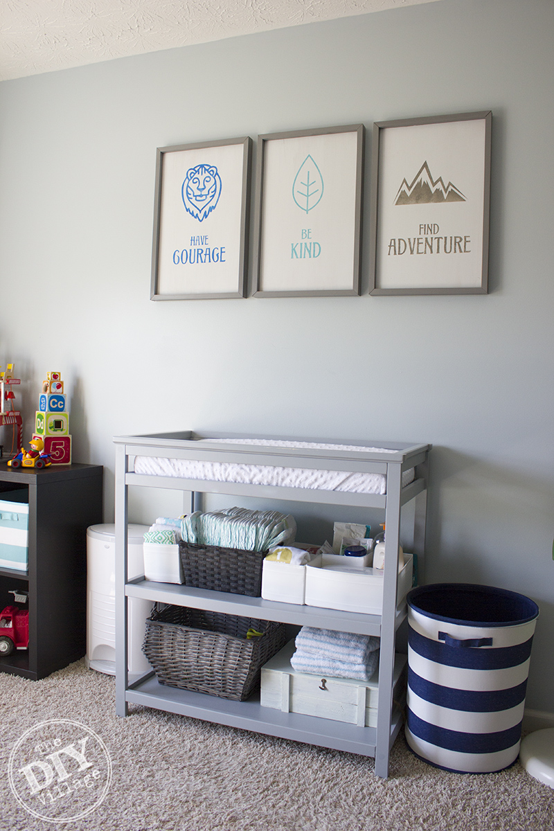 Modern Rustic baby nursery with bright pops of color and custom wall art