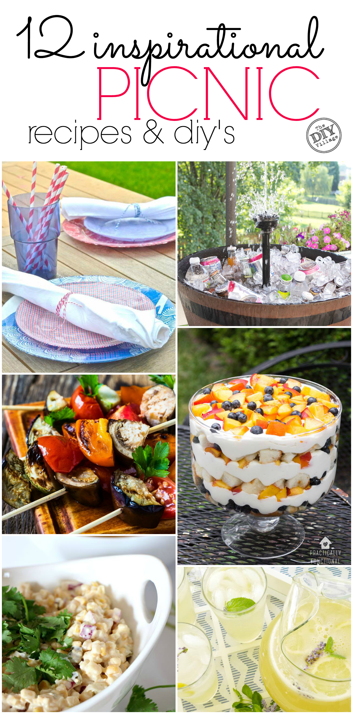 Great ideas for a summer party, picnic, or pretty much any gathering! Great picnic recipes and diy's