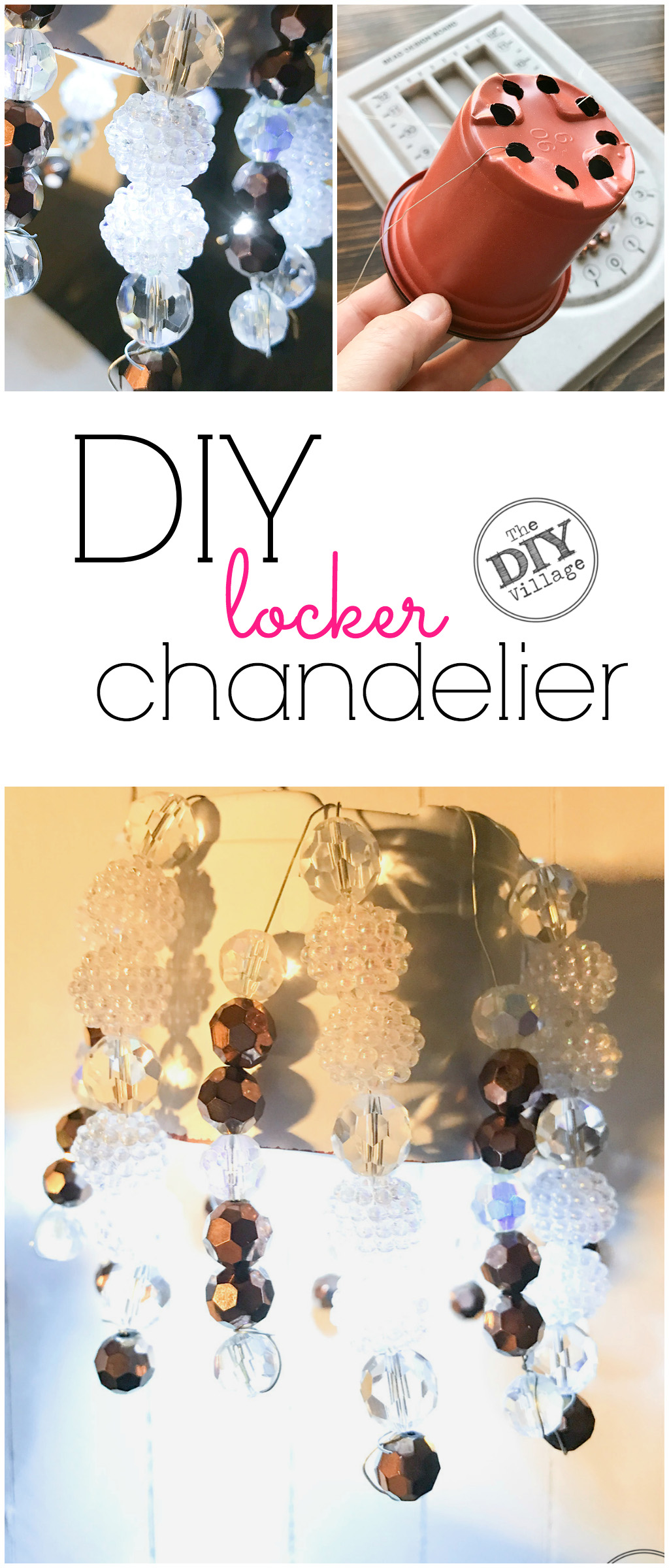 What's the fun in having a locker if you don't bling it out. Follow this fast and easy tutorial and learn how to make your own DIY locker chandelier.