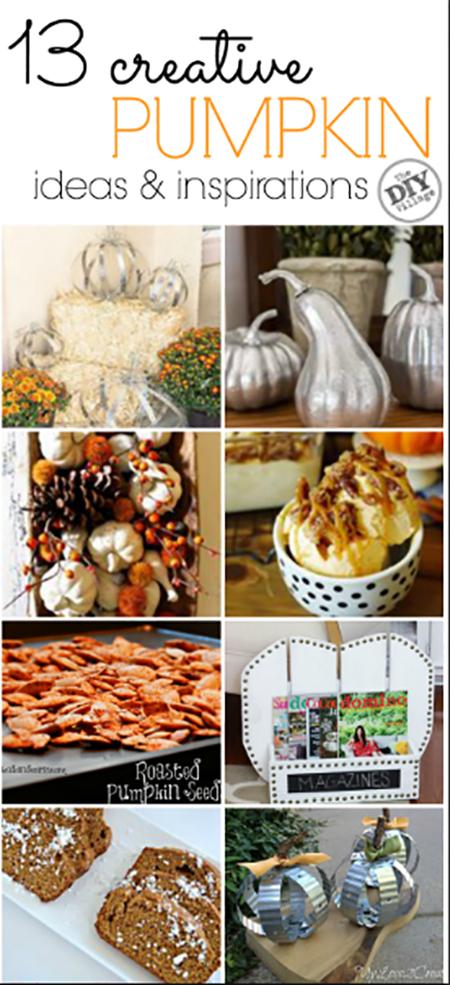 13 creative ideas for pumpkins.  Bring on fall ya'll