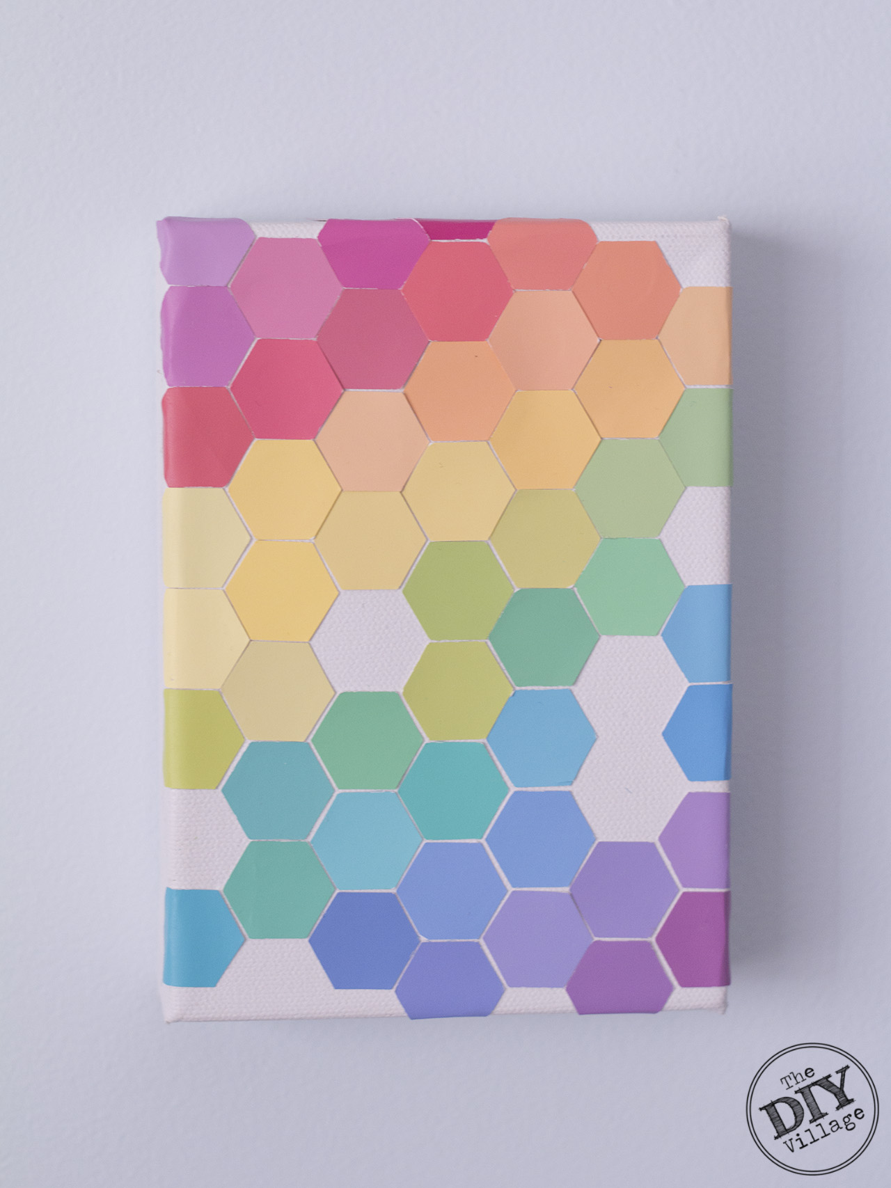 Rainbow honeycomb paint chip art