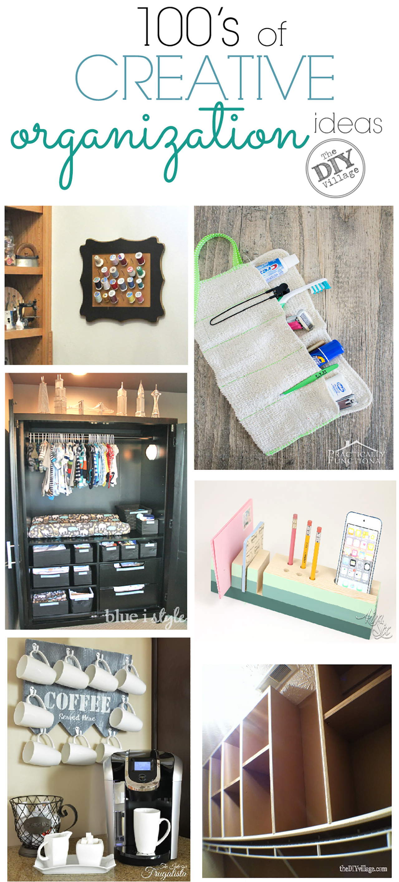 100's of creative organizational ideas for your home. So many great ideas,  I can