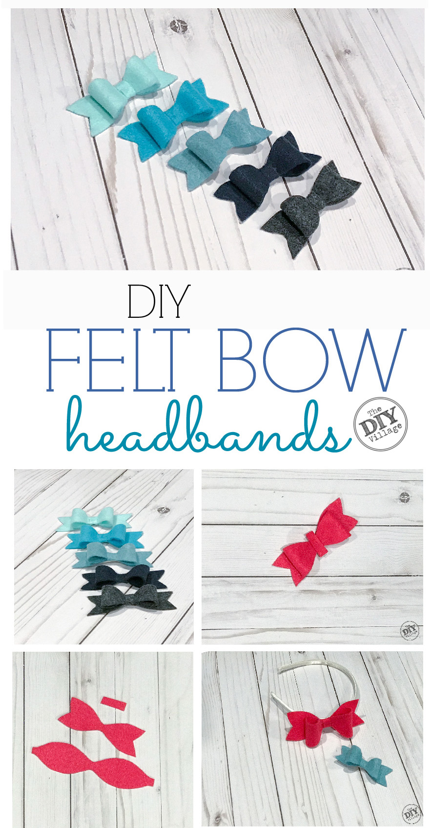 Small felt bows in shades of blues and grays with text