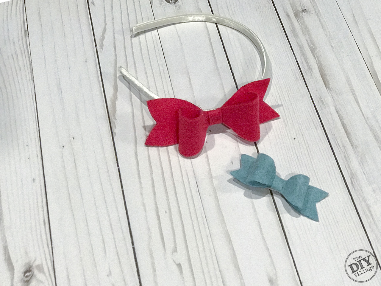 Pink and blue completed felt bow headband and hair clip