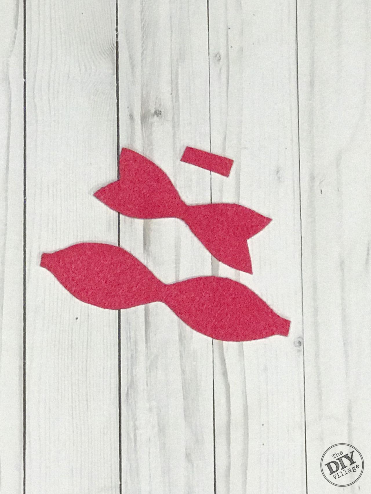 Pink felt bow cut out shapes
