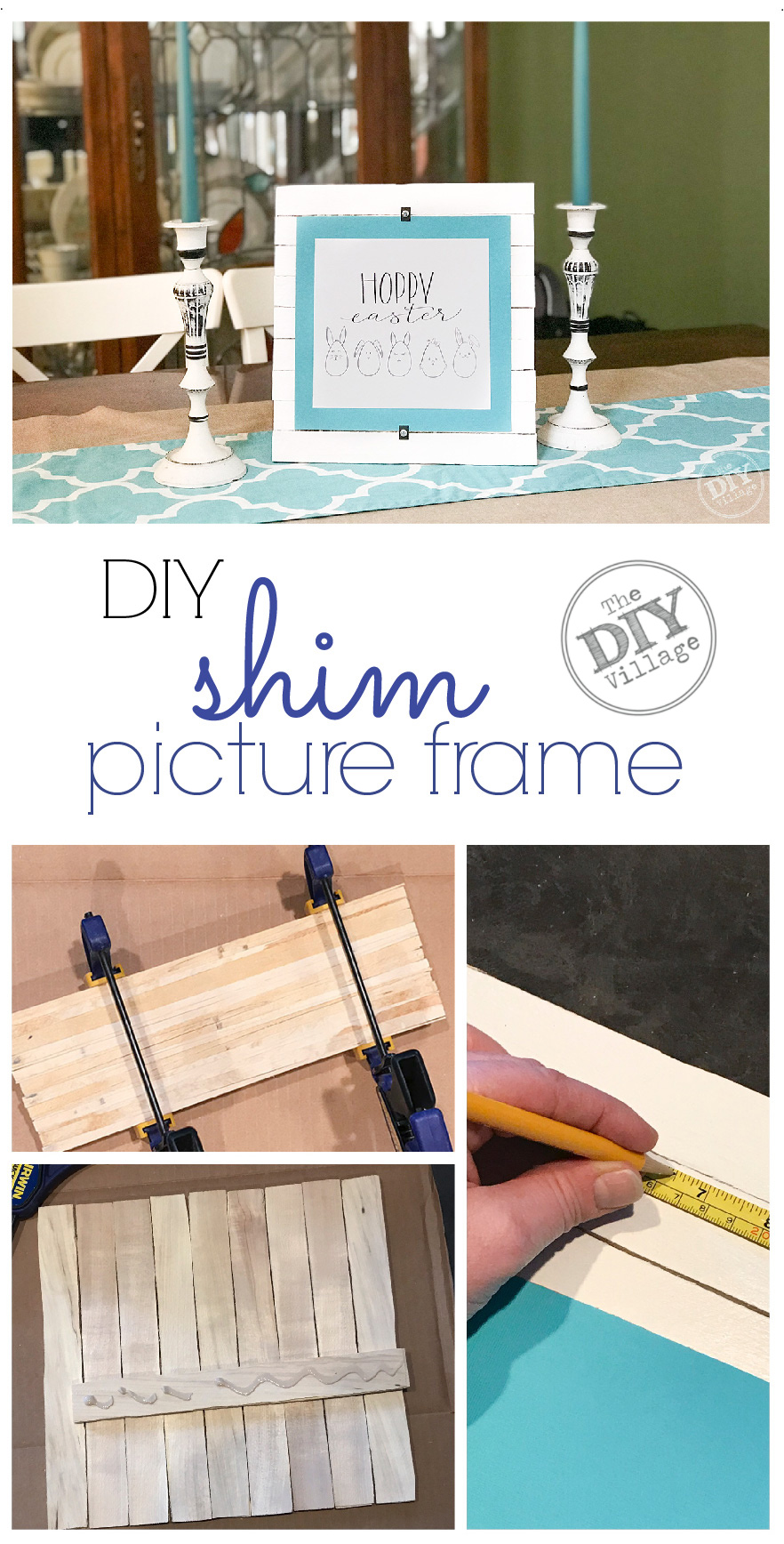 Wood shim picture frame with easter printable