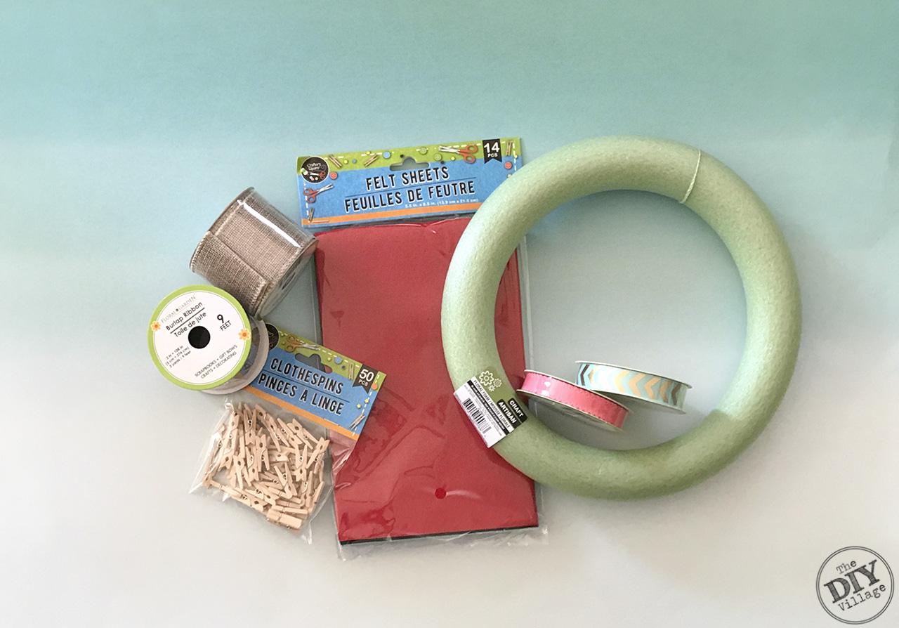 Spring Bunting Wreath materials, wreath form, ribbon, clothes pins, felt