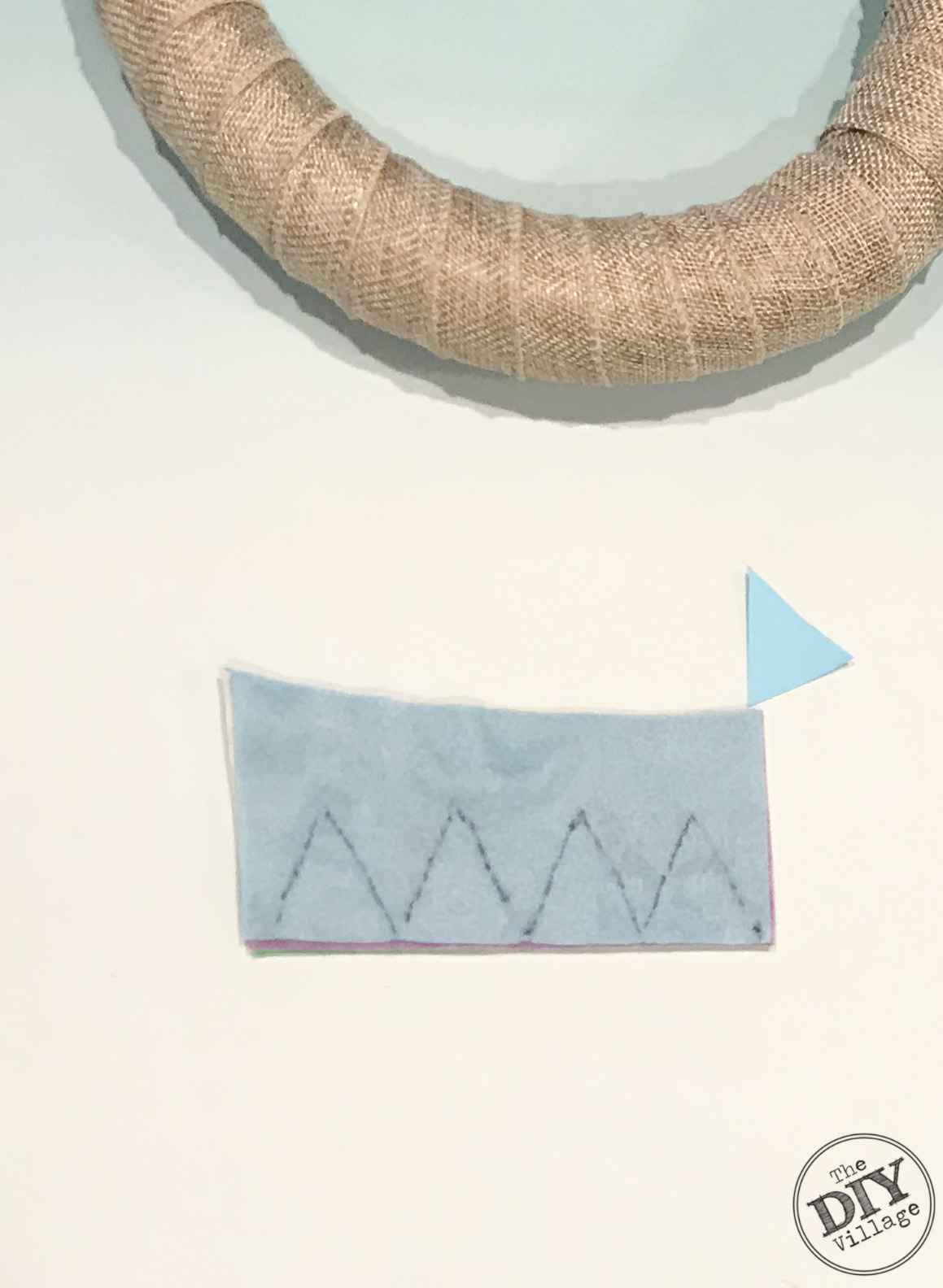 Felt with triangle shapes and wreath