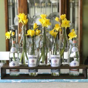 Easy DIY Bottle Vase Holder with nailhead trim