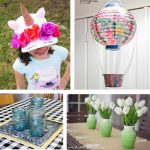 10 Affordable Spring Projects from the Dollar Store Crafts #unicorn #crafts #diy #dollarstore #inspiration #spring #hotairballoon #wreath #masonjars #tablescape #organization #storage