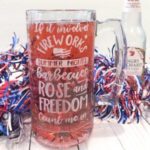 DIY Tutorial for Rose Patriotic etched mug. #patriotic #dollarstore #rose #etchedmug #glassetch #freedom