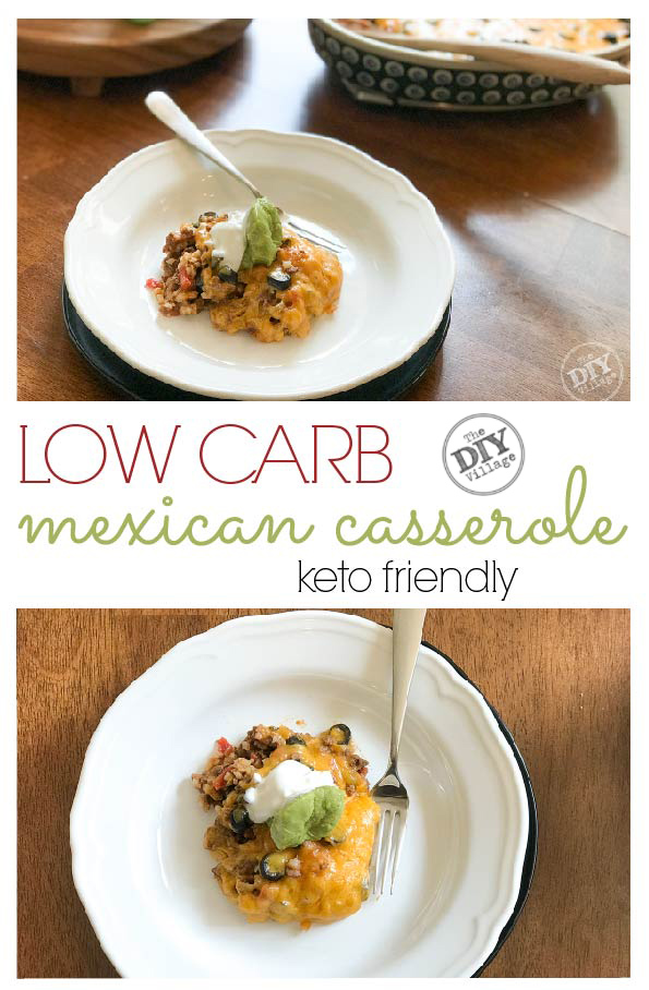 Low carb mexican casserole with riced cauliflower - keto friendly #keto #lowcarb #ricedcauliflower #healthy #ketodiet #recipes #familyfriendly #mexican