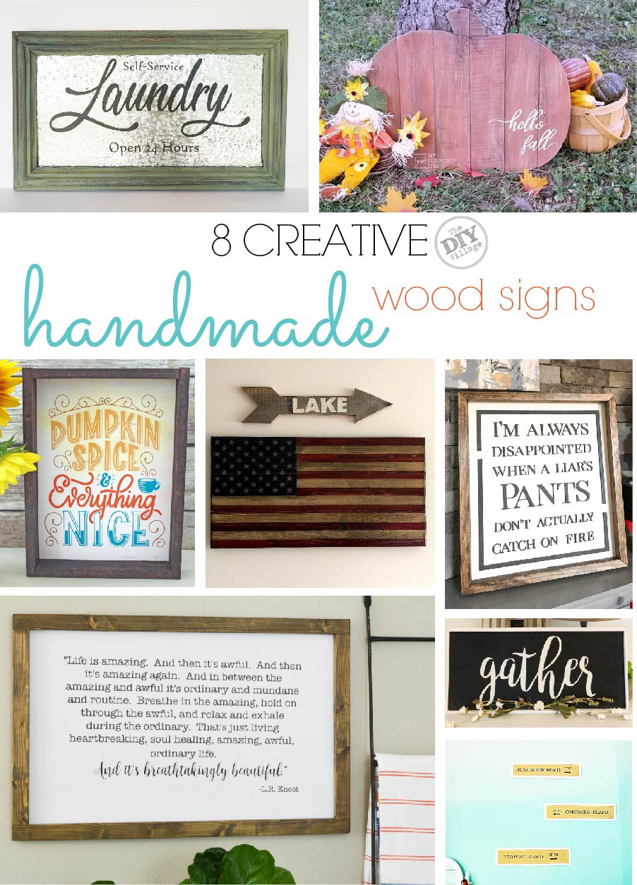 8 creative ideas and tutorials for handmade wood signs. #homedecor #powertoolchallenge #woodworking #diysign #lasercut #fall #patriotic #beach