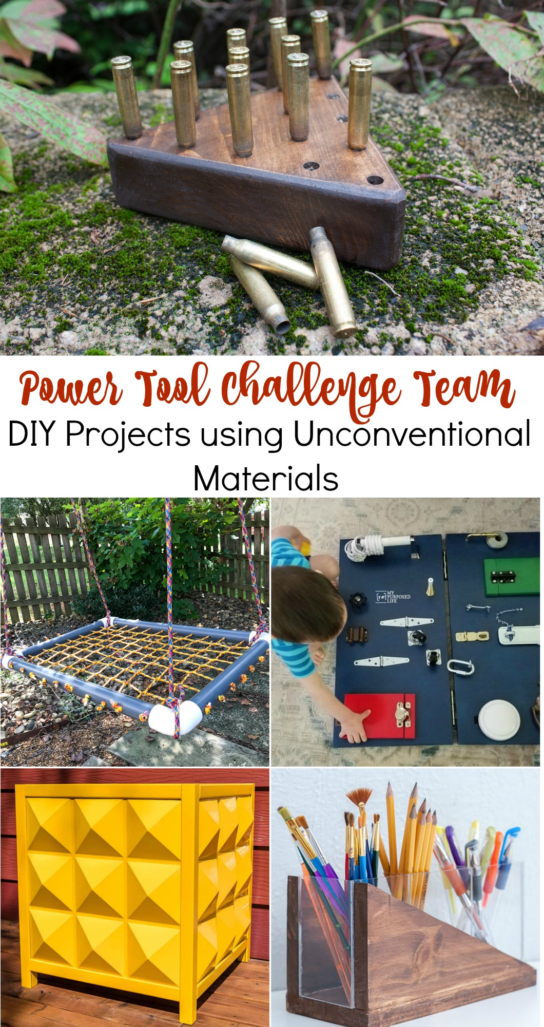 Awesome DIY Creative Projects using Unconventional materials. #diy #powertoolchallenge #platformswing #busyboard #outdoorplanter #deskstorage #diyprojects #homedecor