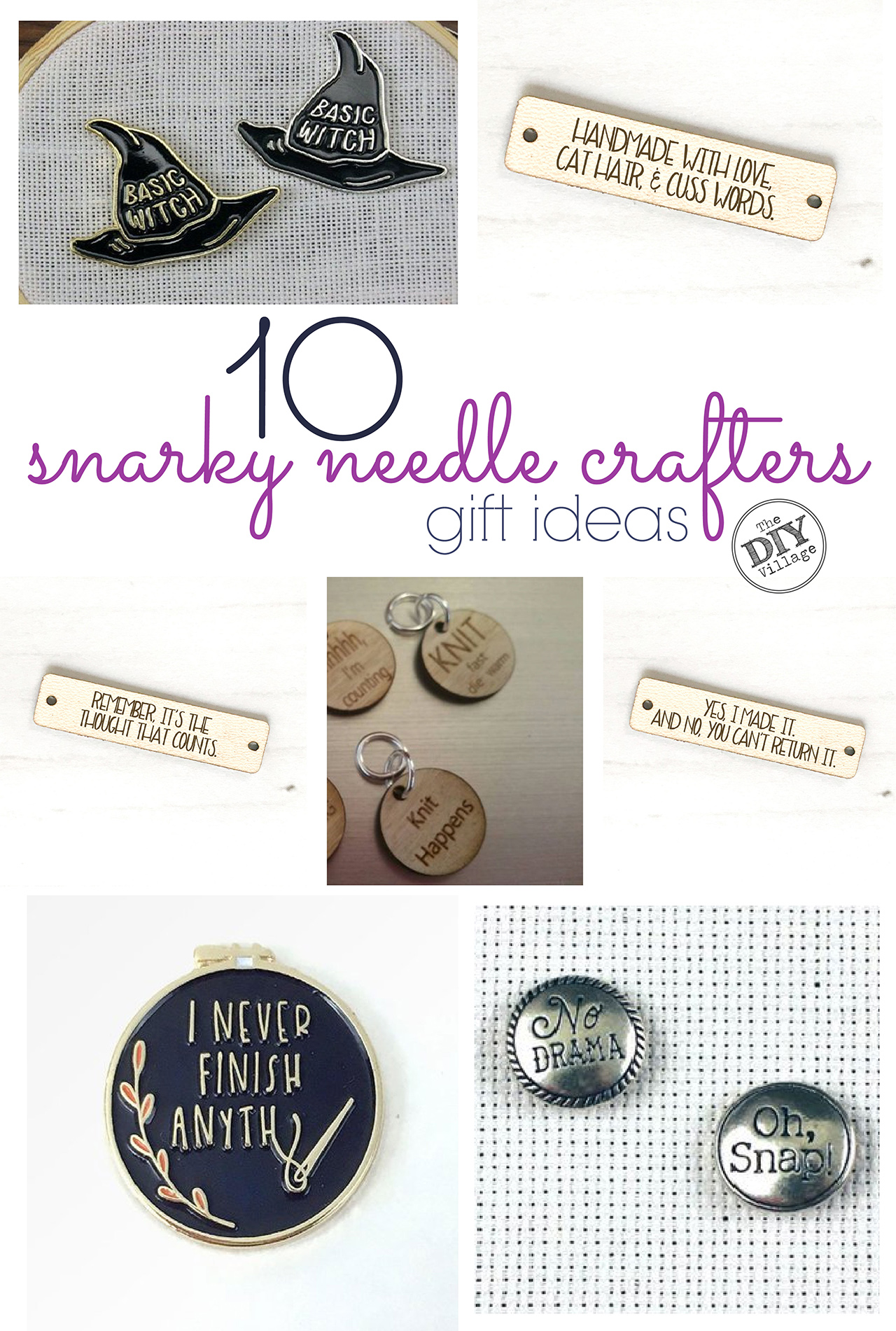 10 hilarious gift ideas for the snarky needle crafters in your life.  I love all of these!  So affordable!  #snarkycrafter #needleminder #crochettag #knittag #giftideas #craftergiftideas #funnygifts