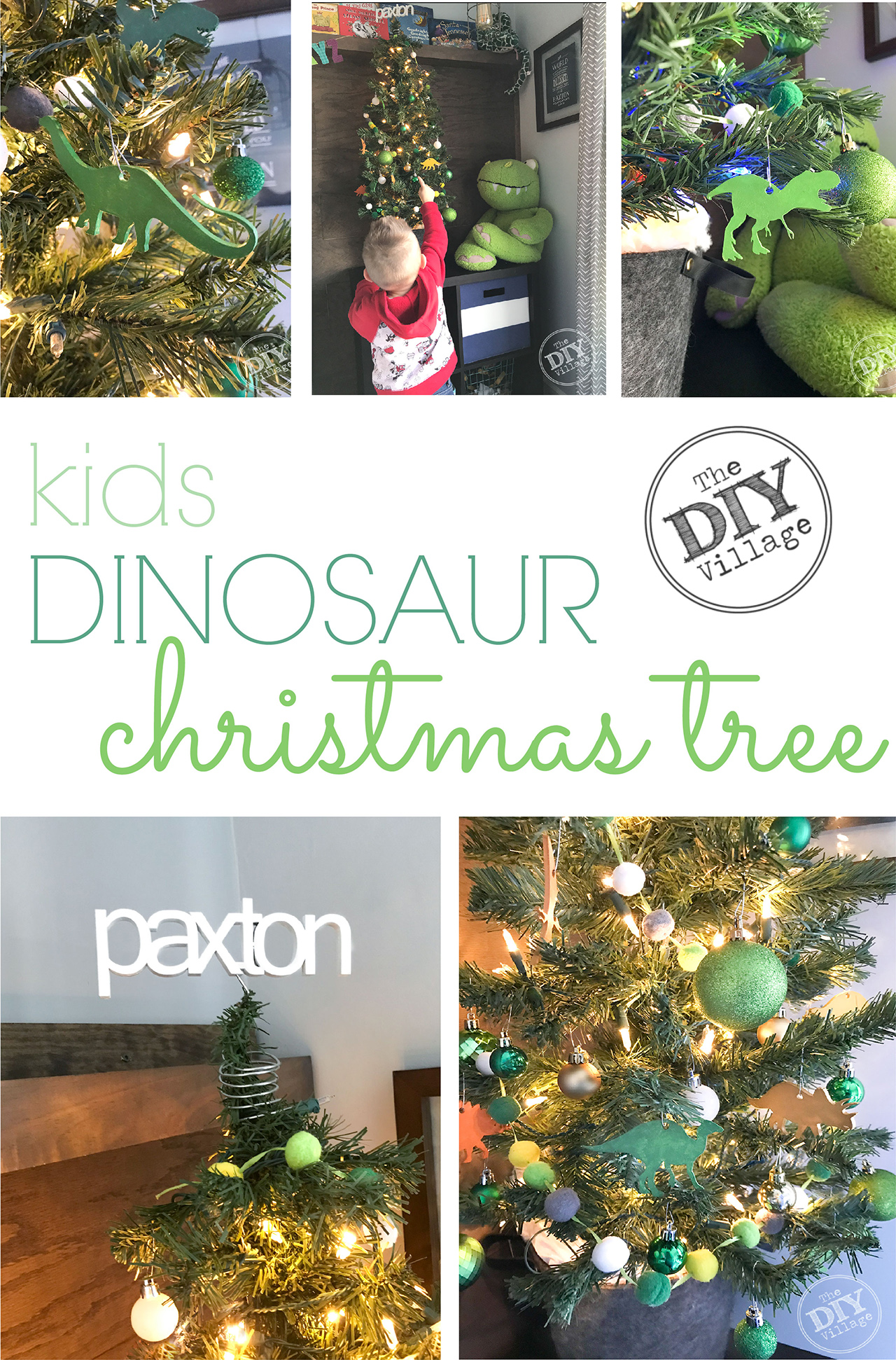 Adorable kids dinosaur Christmas tree. So cute for a little ones room! #christmastree #kidstree #nametreetopper #dinosaur