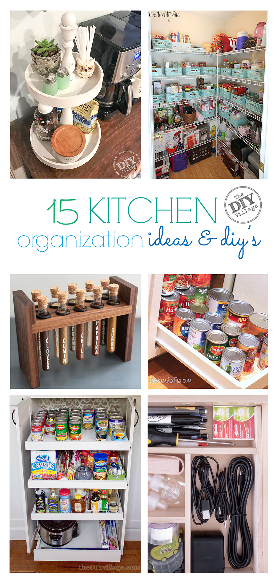 15 kitchen organization diy's and ideas. Perfect for getting everything organized.  #kitchen #organization #organizedhome #kitchenideas #kitchendiys #homediys