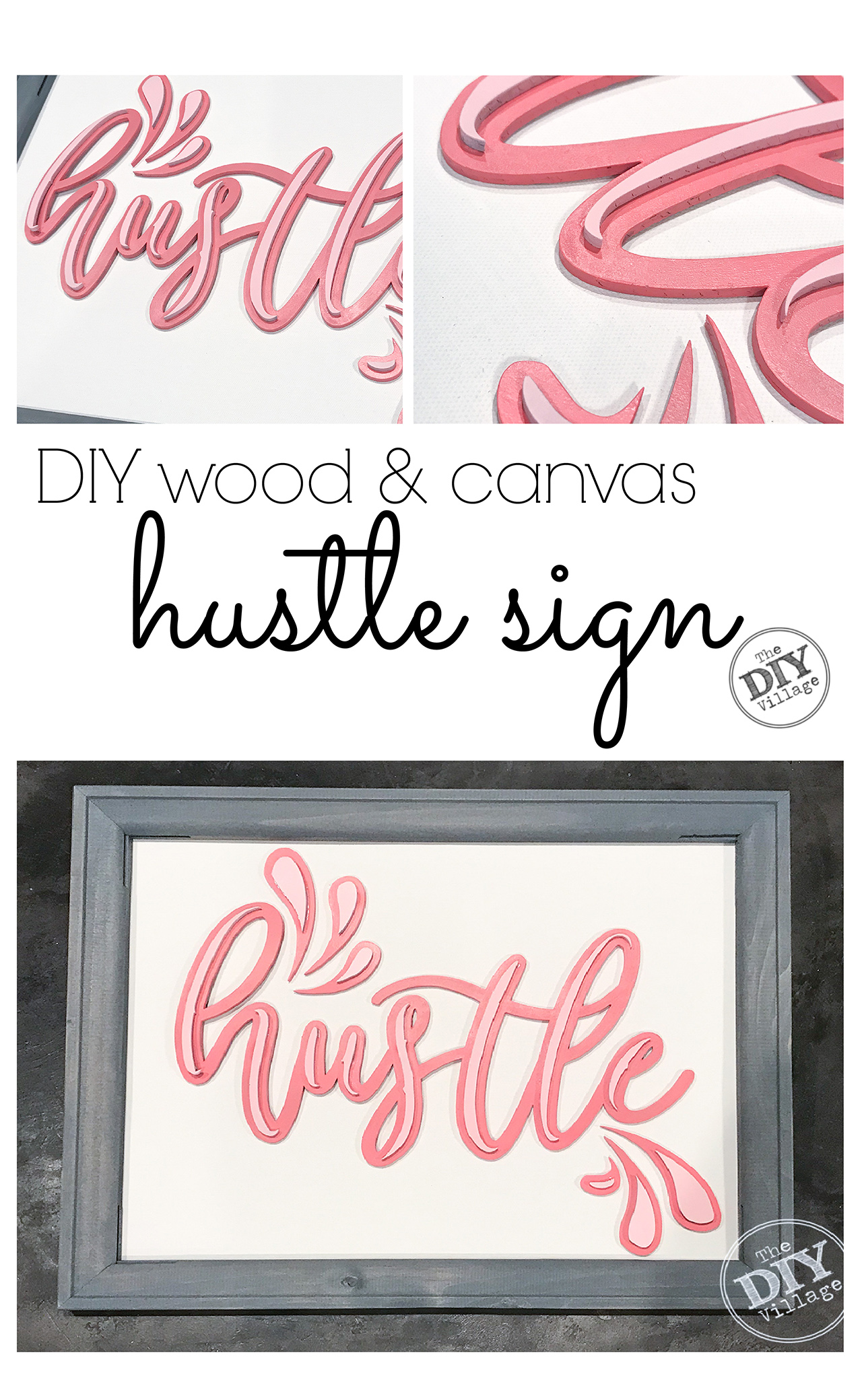 DIY project for under $20. Hustle sign with splash. Free for personal use SVG.